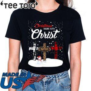 Snowman Christmas begins with Christmas Tee Shirt