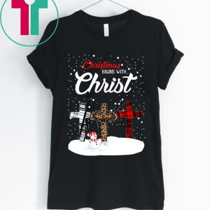 Snowman Christmas begins with Christmas Tee Shirt