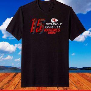 15 Patrick Mahomes Kansan City Chiefs Super Bowl LIV Black T-Shirt