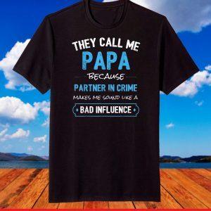 Grandpa Gifts Shirts, Papa Partner In Crime T-Shirt