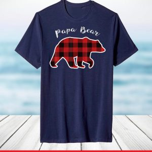 PAPA BEAR Red Plaid Christmas Pajama Family Dad T-Shirt