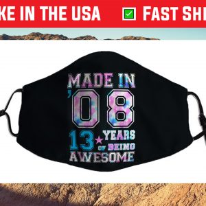 13 Year Old Girl 13th Birthday Born In 2008 Us 2021 Face Mask